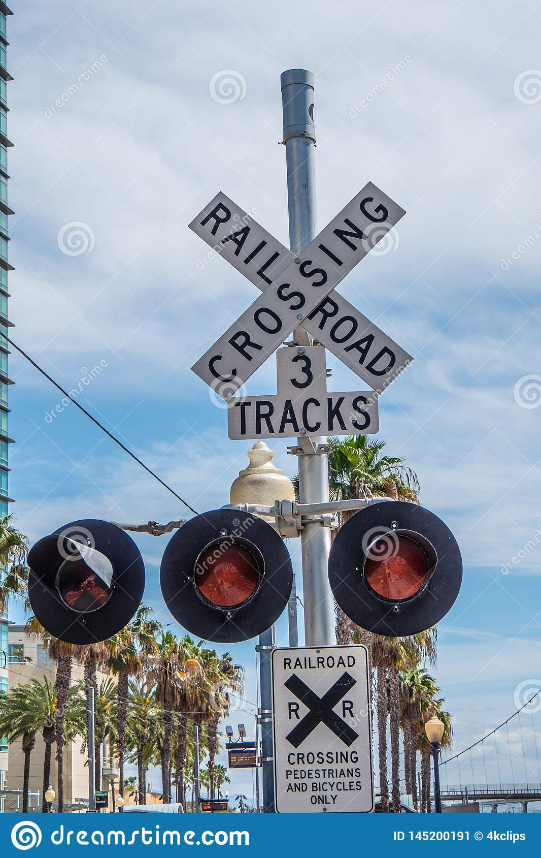 Rail tracks at San Diego Convention Center - CALIFORNIA, USA - MARCH 18, 2019