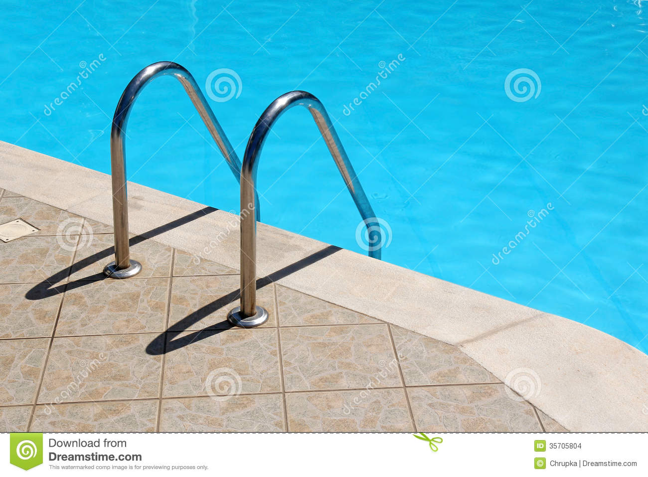 Swimming Pool Step Handrail : Railing stairs in the blue swimming pool stock images