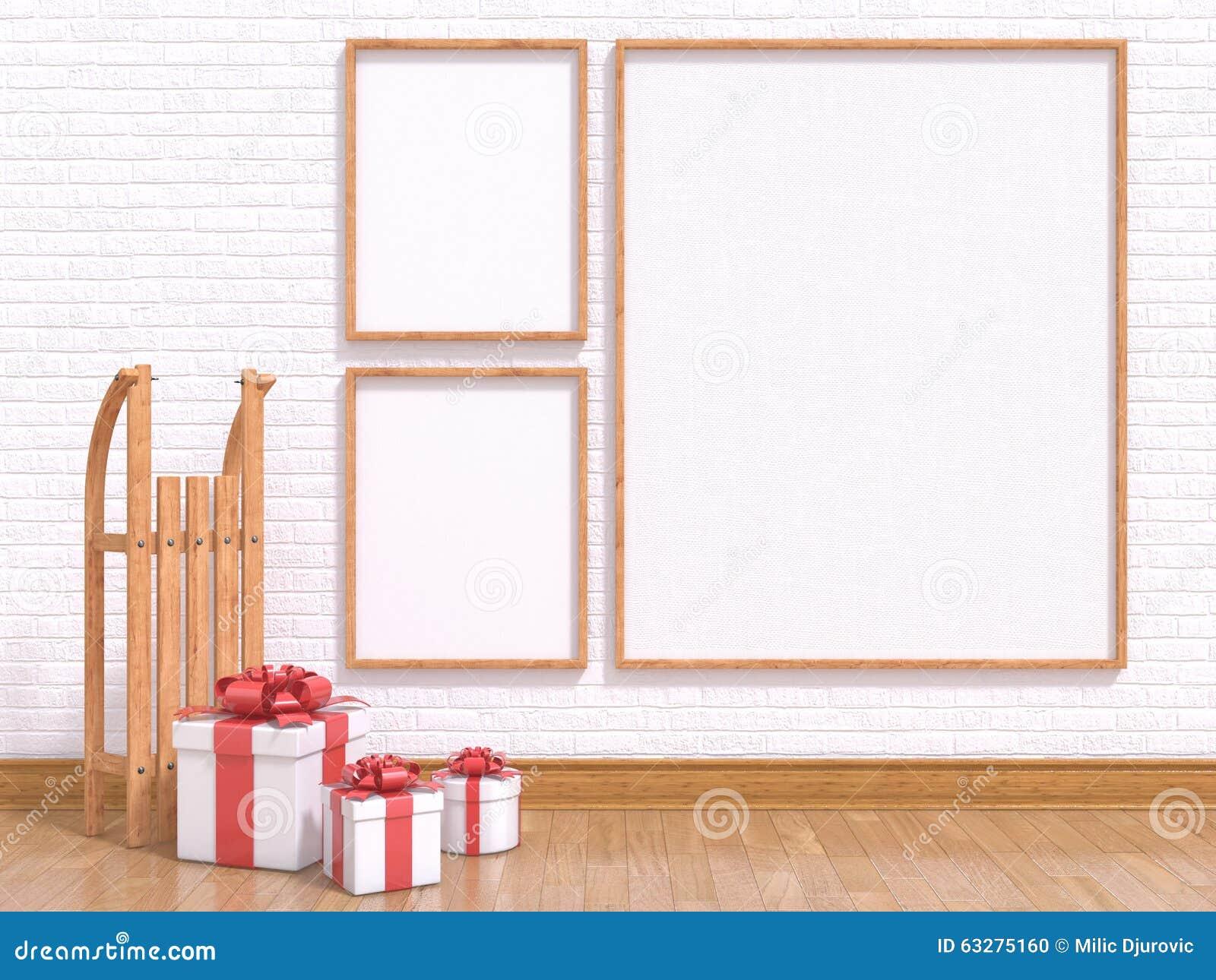 Raillez vers le haut de l affiche avec le traîneau et les cadeaux de Noël en bois 3d rendent