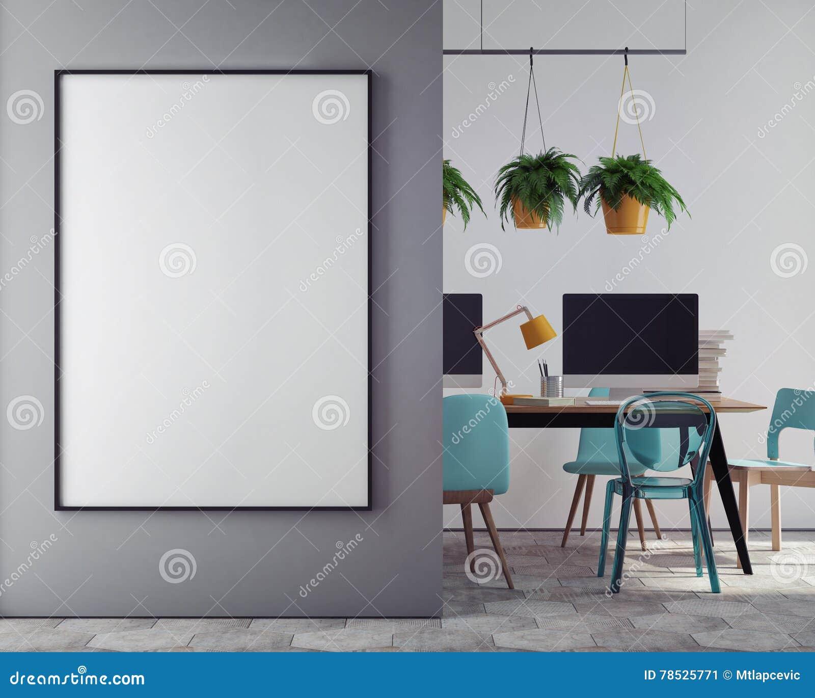 Raillez Vers Le Haut De L Affiche Vide Sur Le Mur Du Bureau