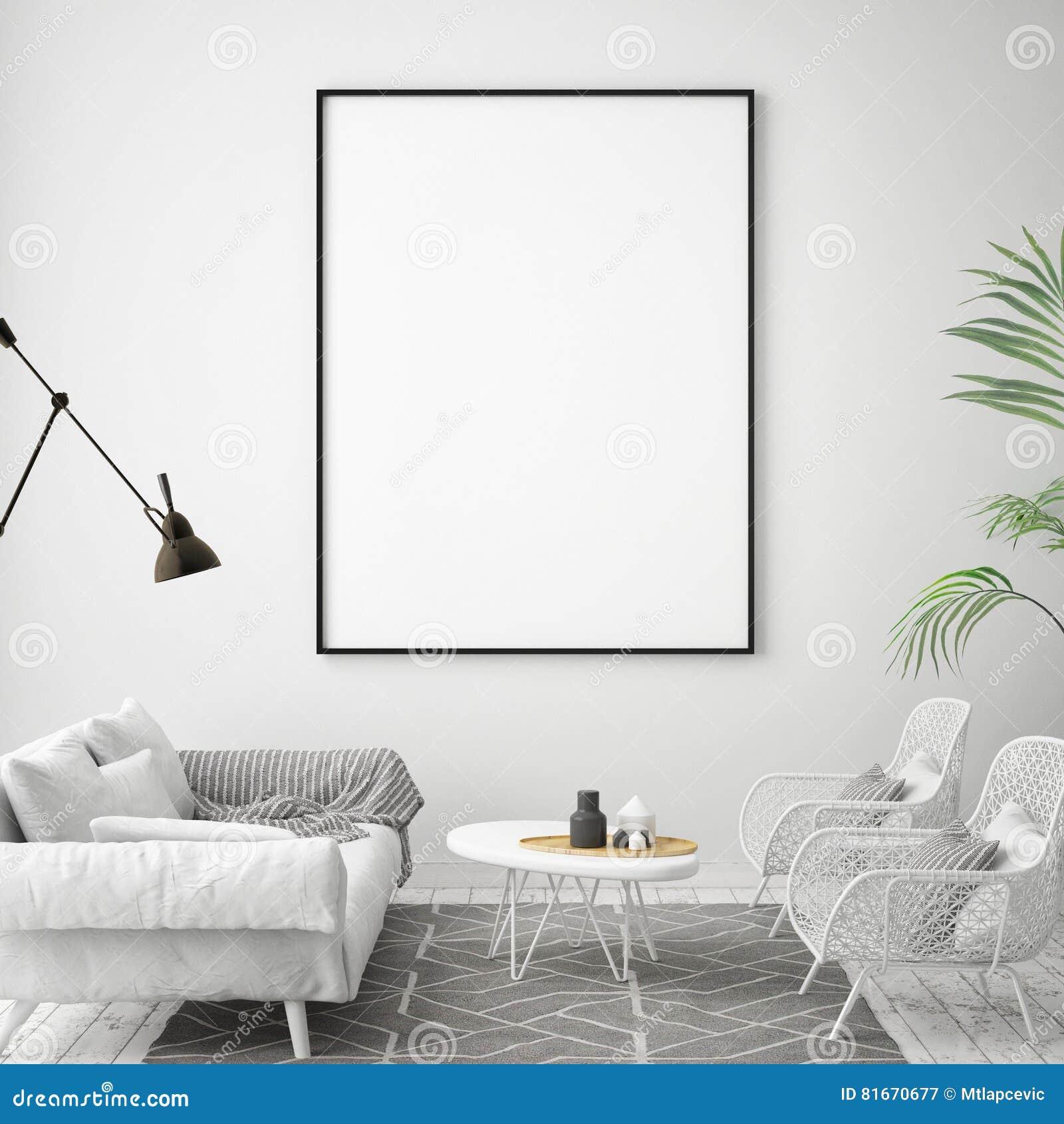 raillez vers le haut du cadre d'affiche à l'arrière-plan intérieur