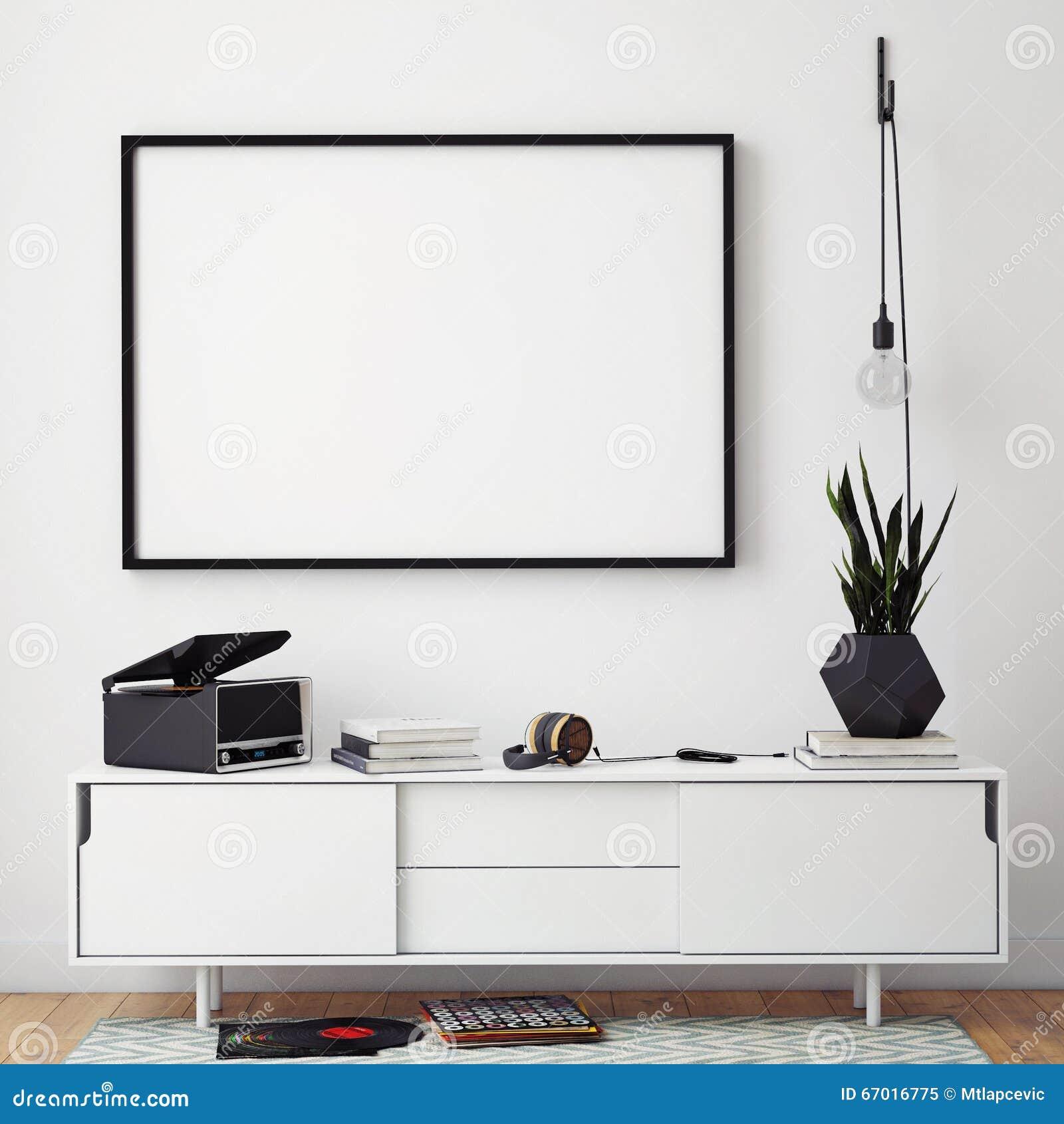 Raillez vers le haut du cadre d affiche avec sur le rétro coffre des tiroirs, fond d intérieur de hippie