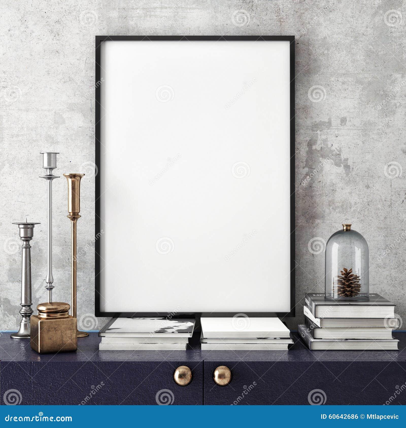 Raillez vers le haut du cadre d affiche avec sur le rétro coffre des tiroirs, fond intérieur de hippie,
