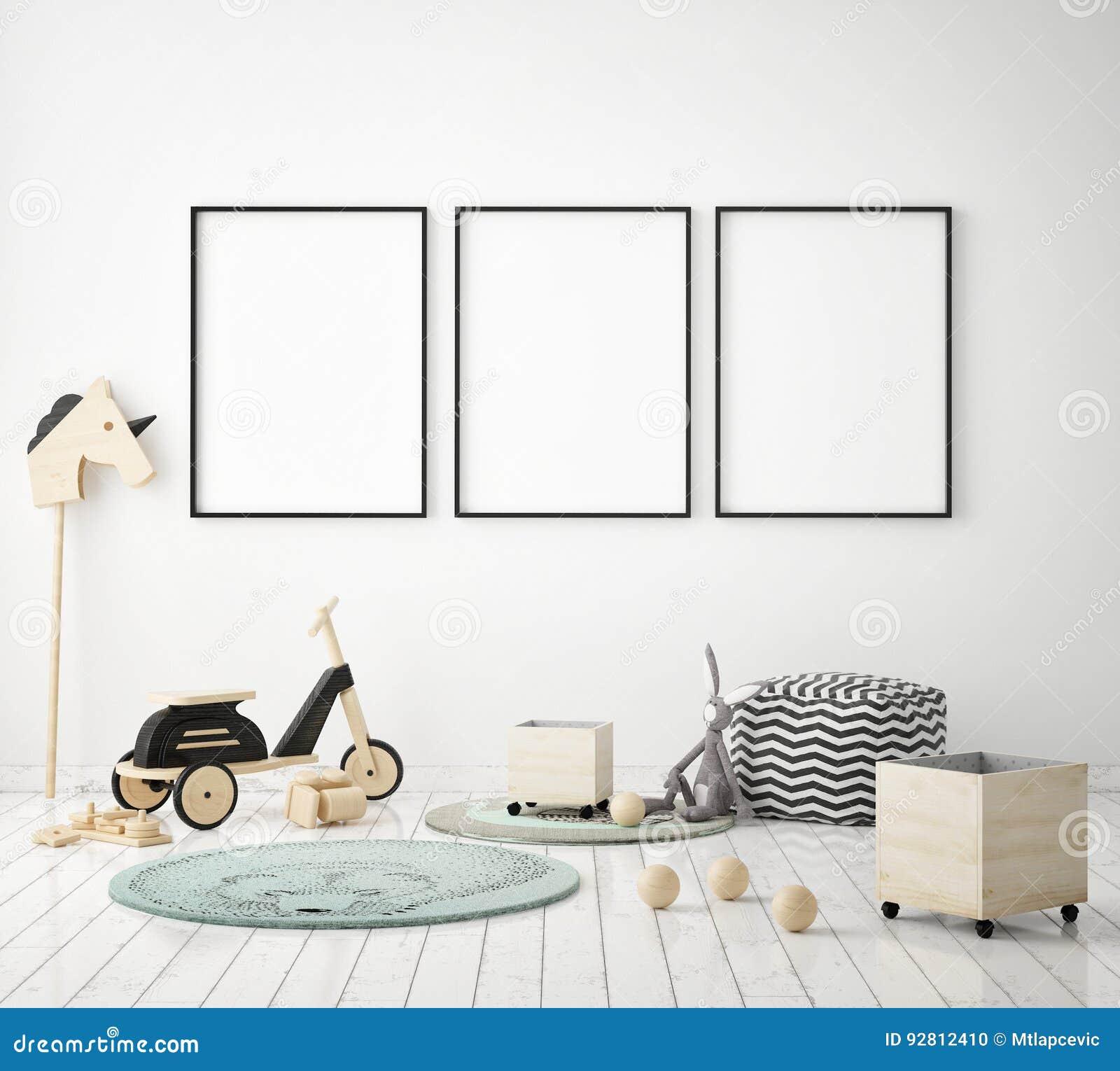 Raillez vers le haut du cadre d affiche chez la chambre à coucher des enfants, le fond intérieur de style scandinave, 3D rendent