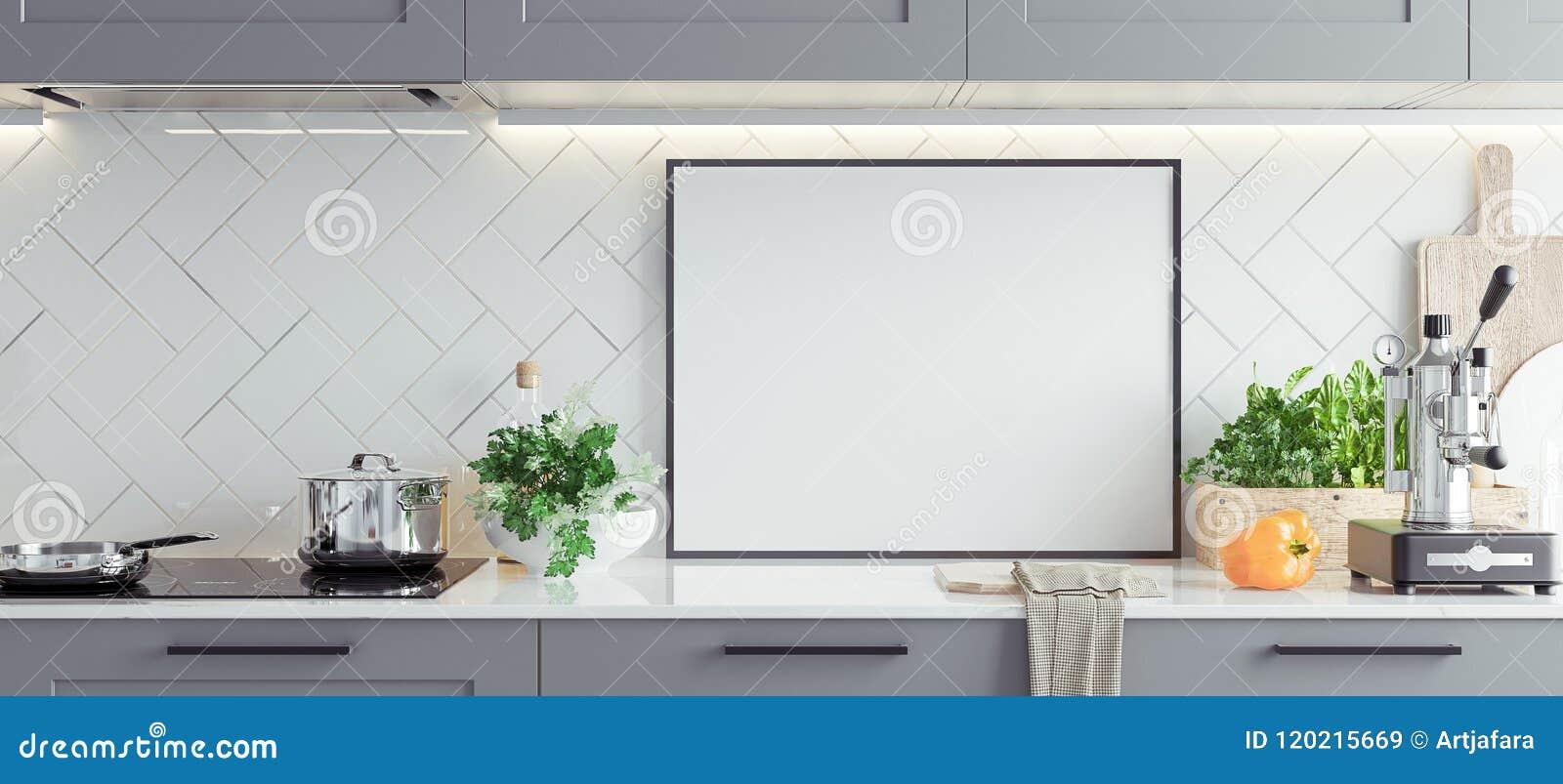 Raillez vers le haut du cadre d affiche dans la cuisine intérieure, style scandinave, fond panoramique