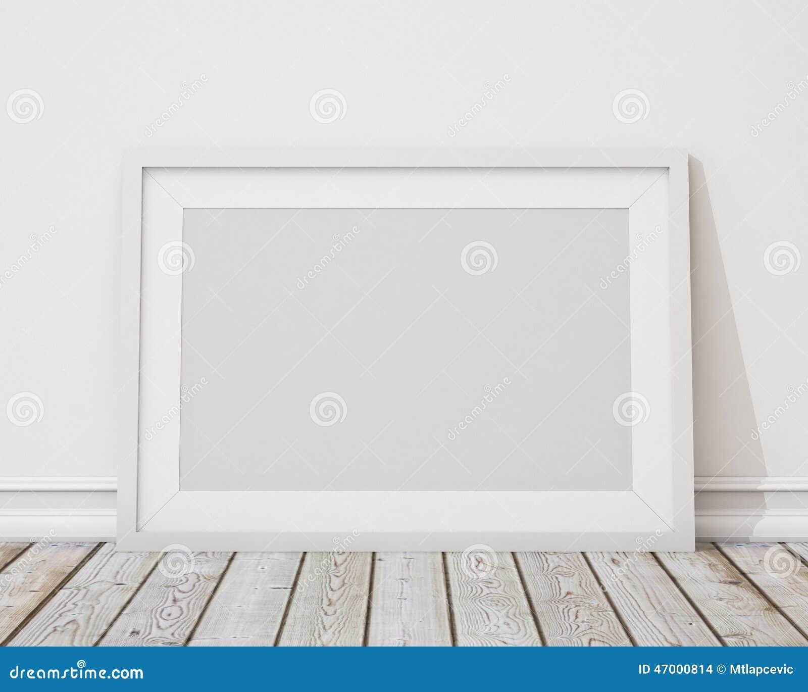 Raillez vers le haut du cadre de tableau horizontal blanc vide sur le mur et - Tableau sur mur blanc ...