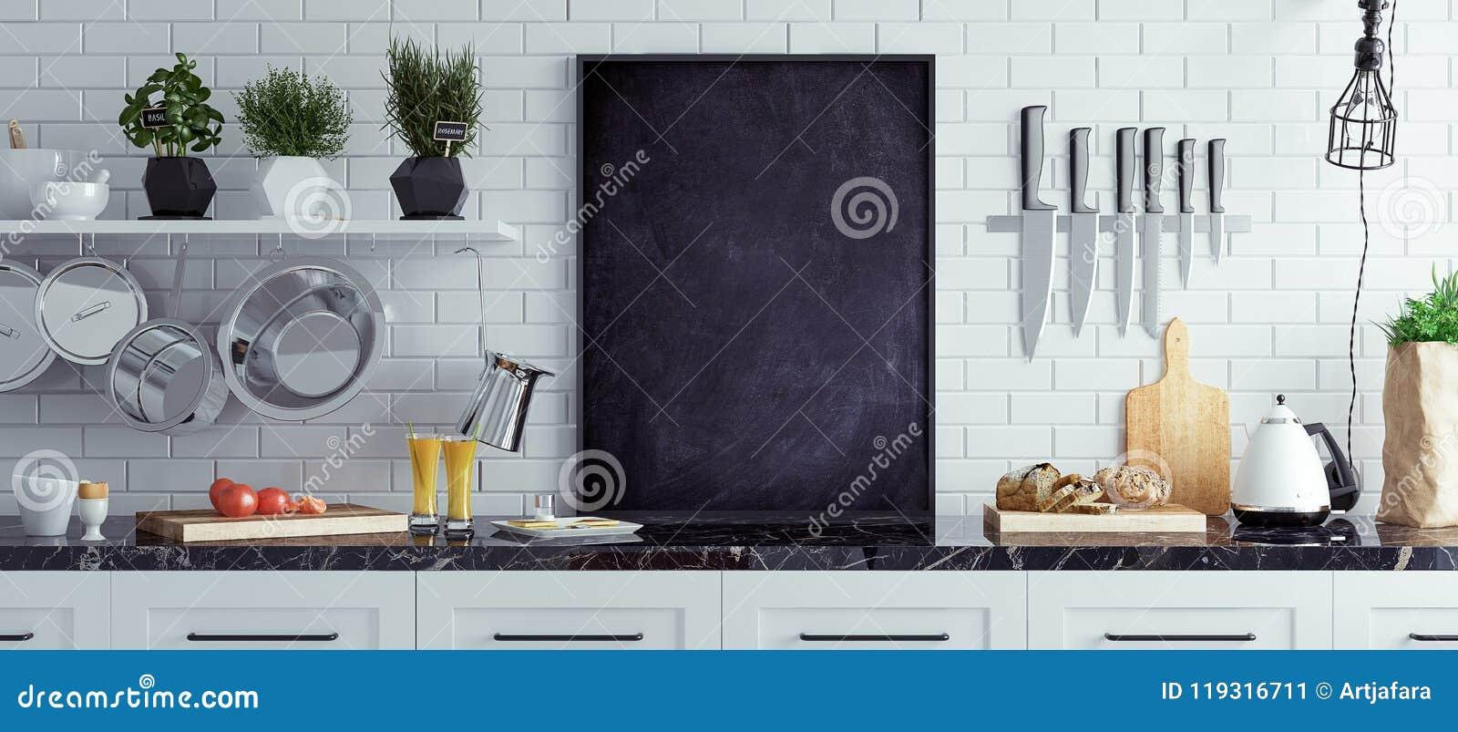 Raillez vers le haut du tableau dans la cuisine intérieure, style scandinave, fond panoramique