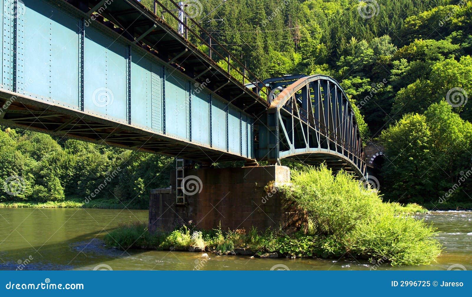 Railroad bridge over water