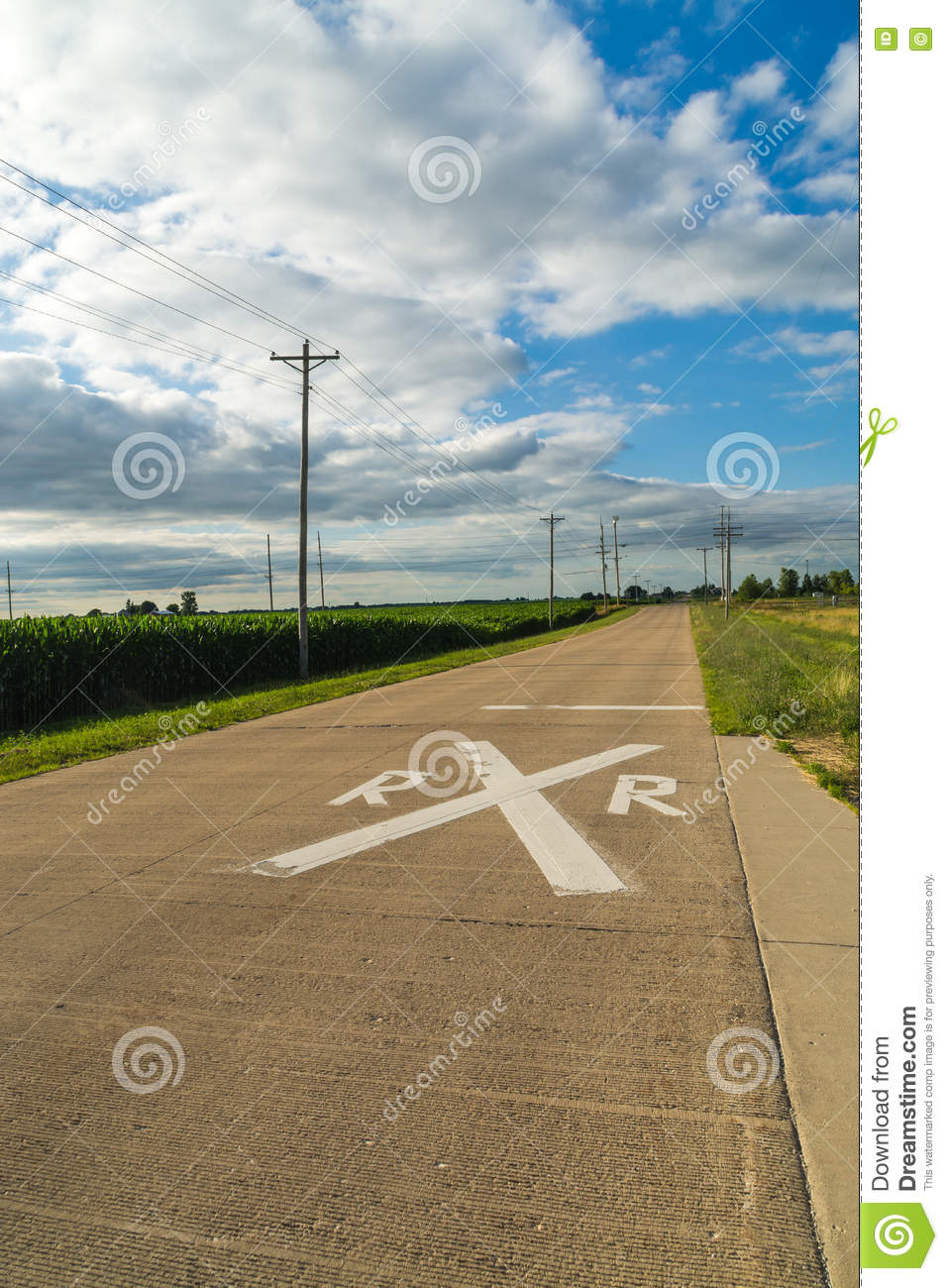 Railroad Crossing In The Country  Stock Photo - Image of
