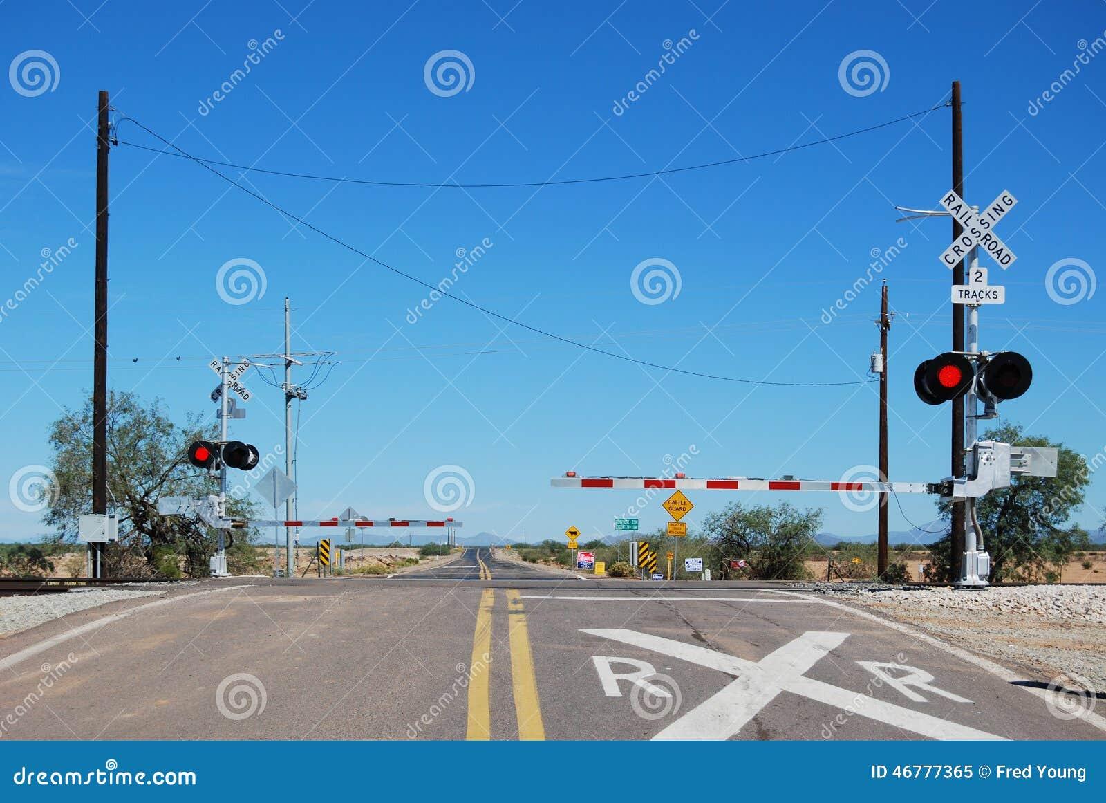 Railroad crossing stock image of train