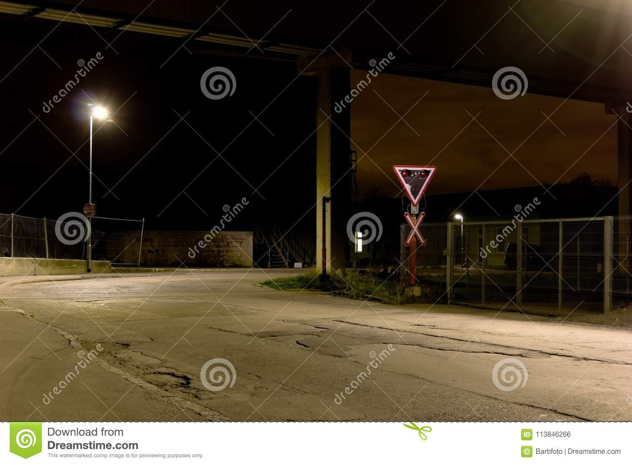 Railroad Crossing stock photo  Image of sign, night - 113846266