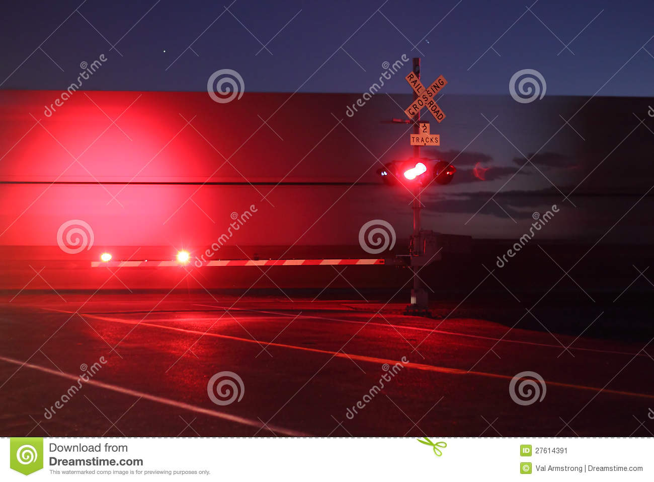 Railroad Crossing at Night stock image  Image of freight