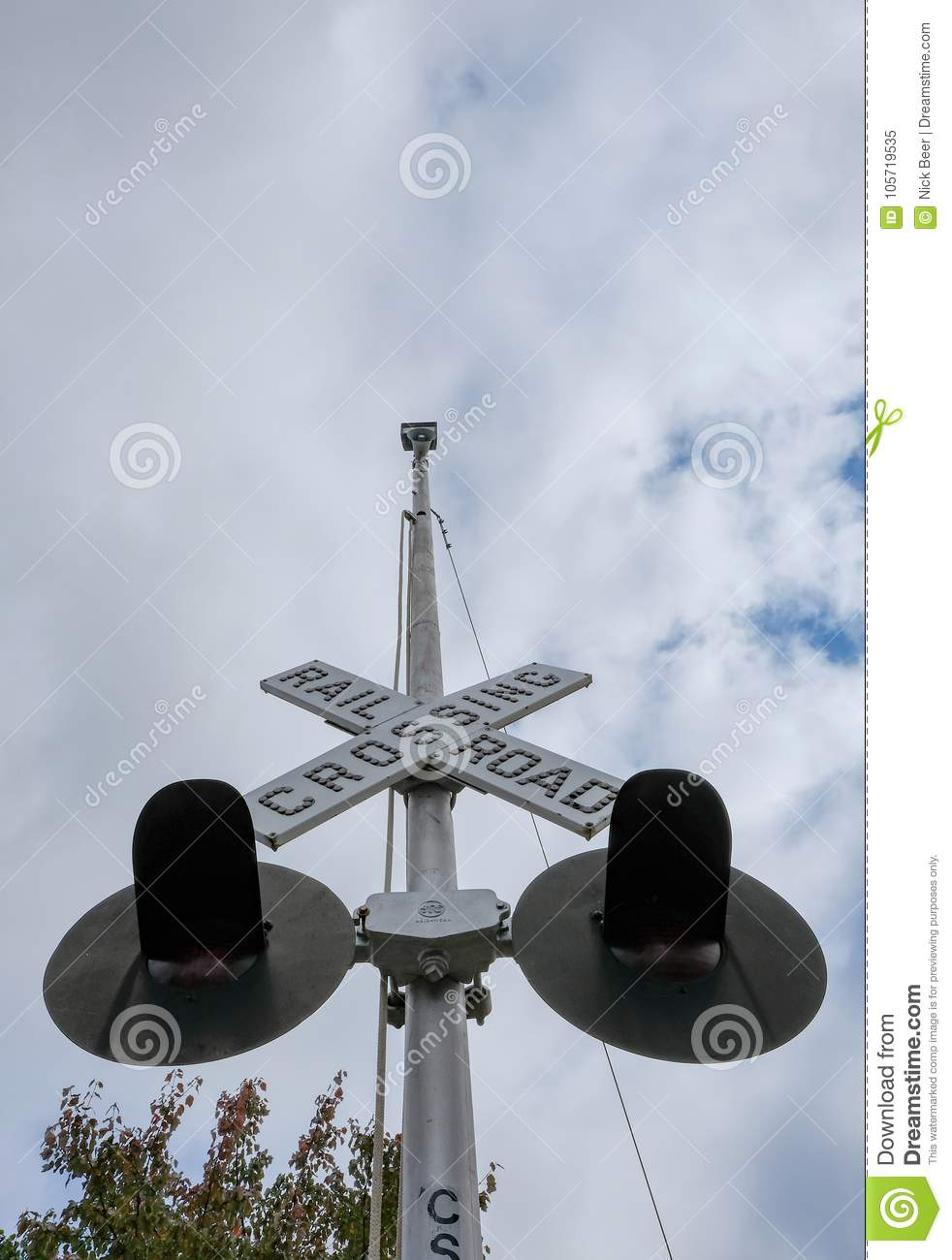 Railroad Crossing Sign And Signals Editorial Image - Image