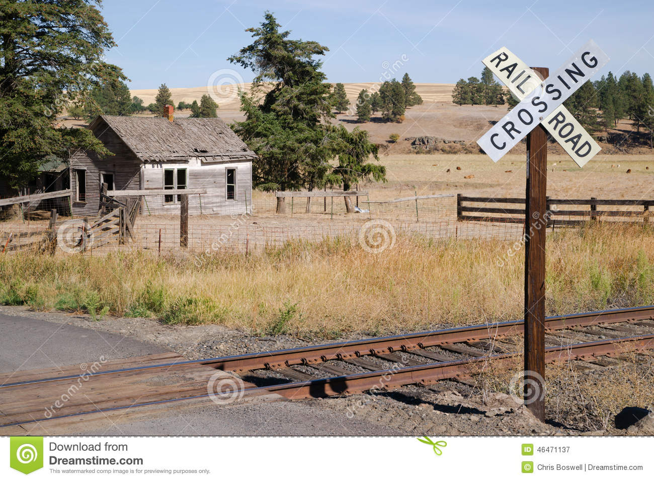 Railroad crossing sign tracks abandoned house rural ranch for House of tracks