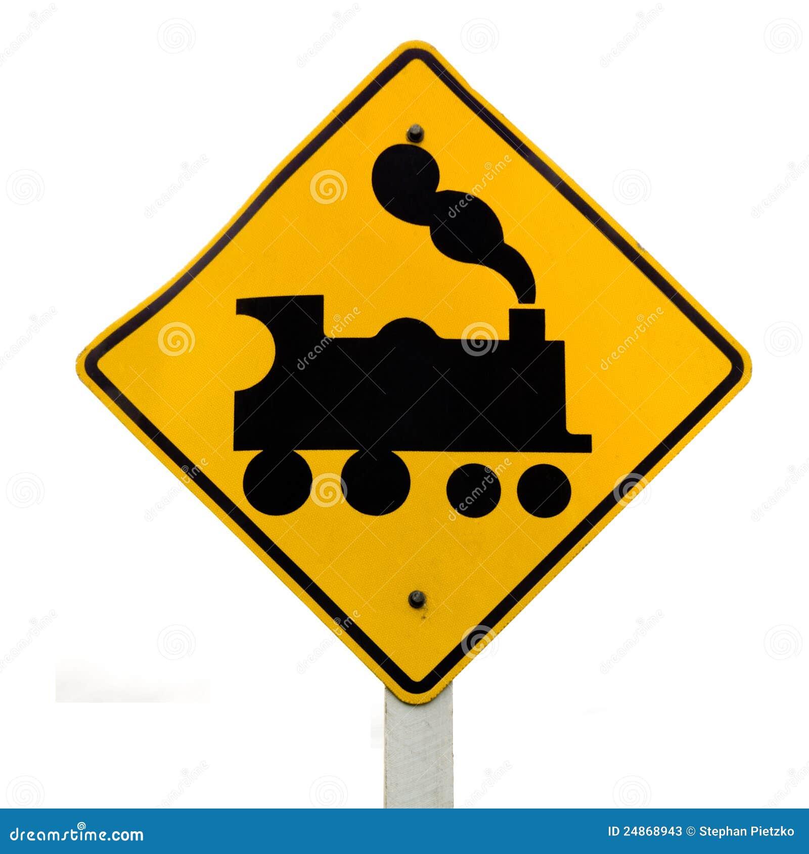 railroad crossing steam engine roadsign on white stock