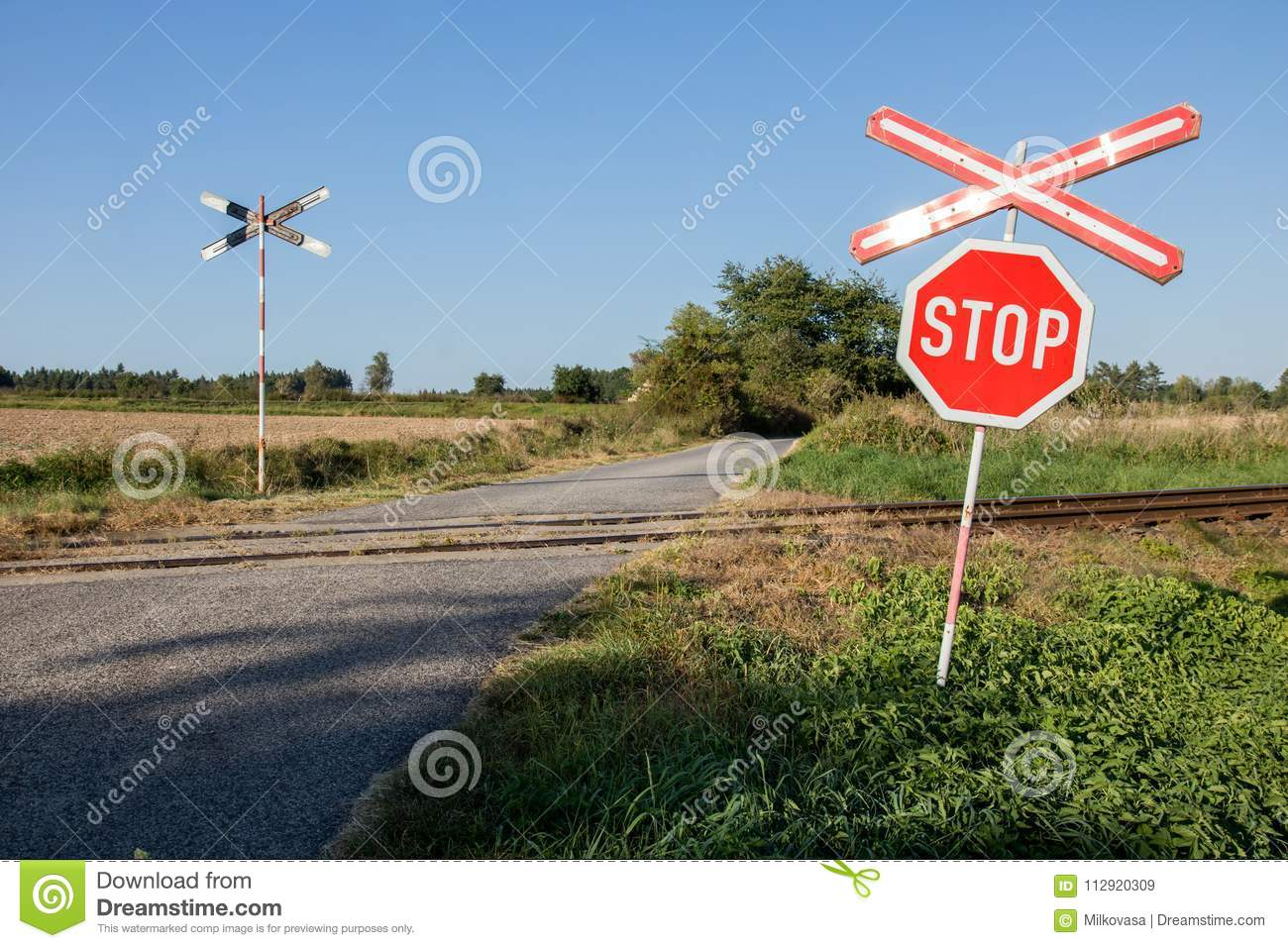 Railroad Crossing Warning Sign  Stock Image - Image of signal