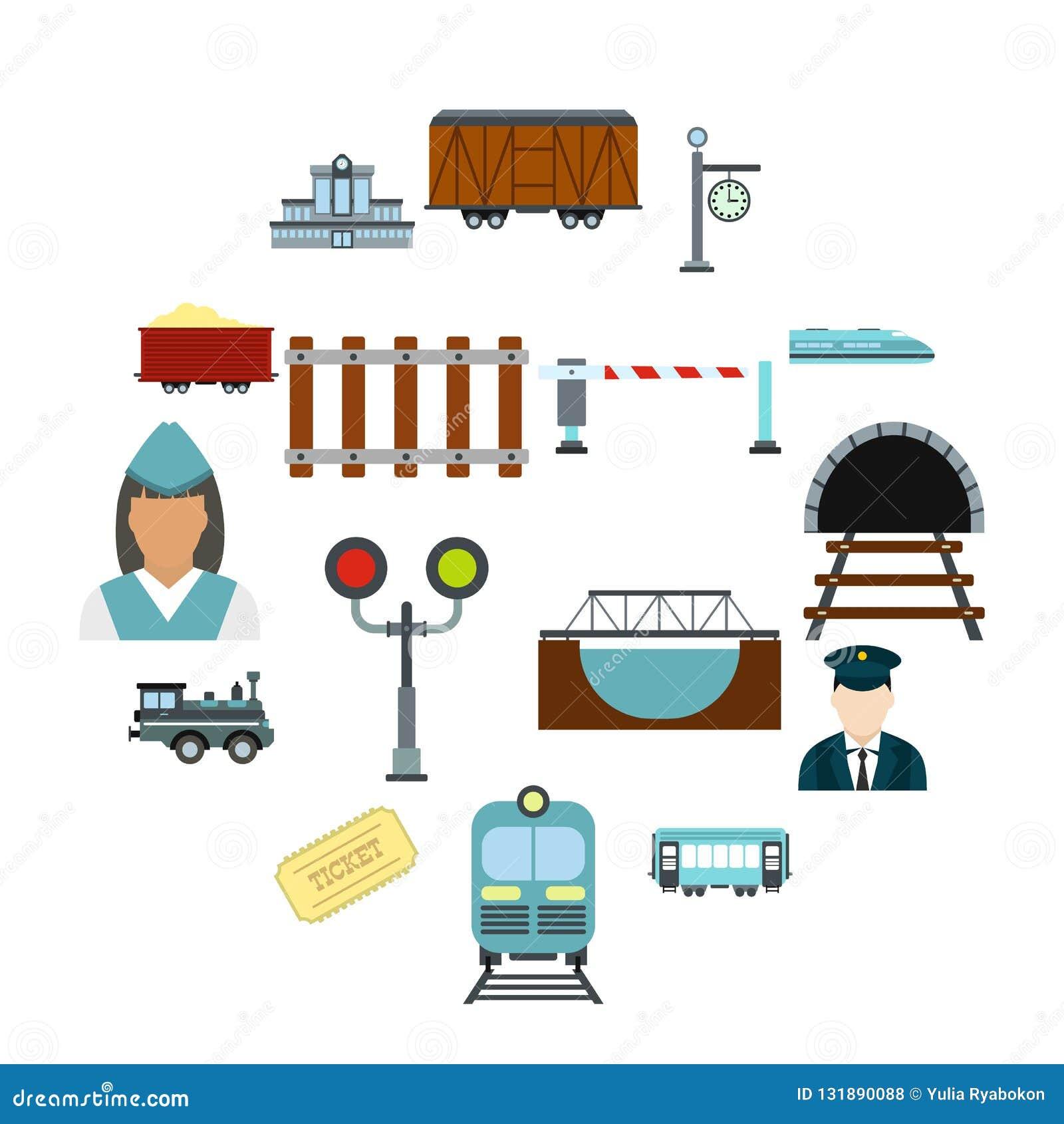 Railroad flat icons set. Isolated on white background royalty free stock photos