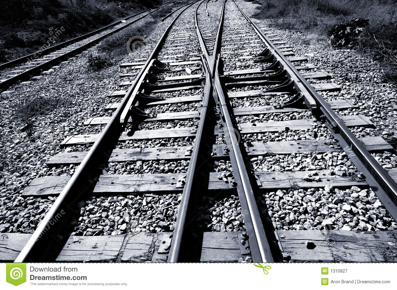railroad junction - black  u0026 white royalty free stock photography