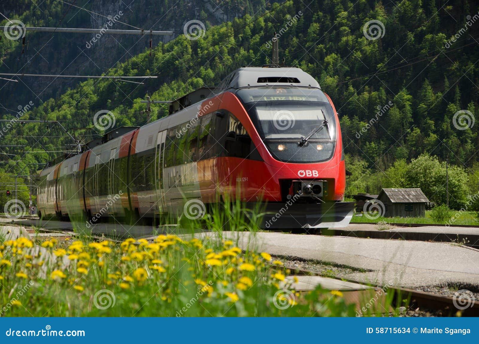 Railroad, OBB train, Obertraun train station, Austria