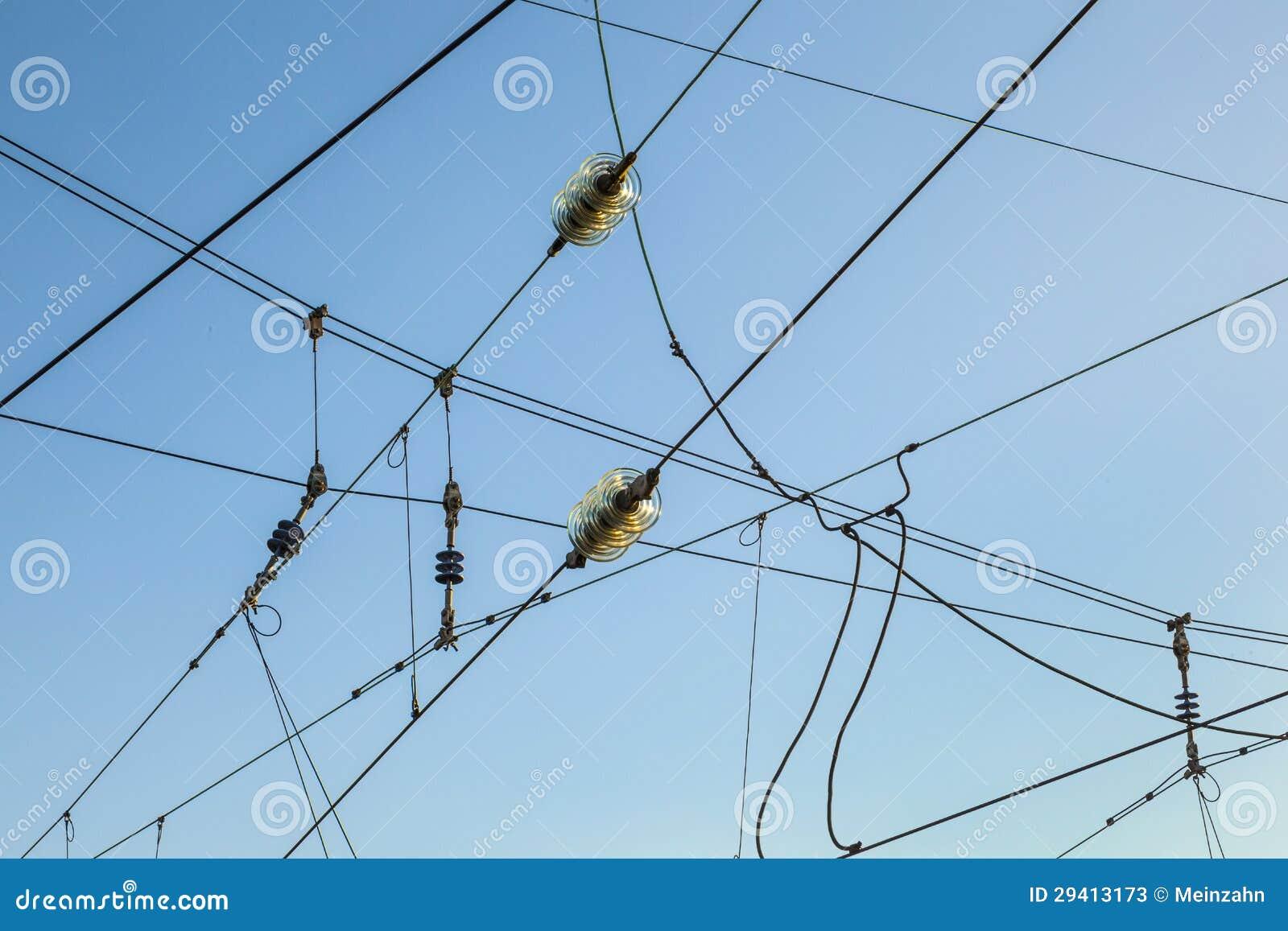 Railroad Overhead Lines Against Clear Blue Sky Stock Photos Image 29413173