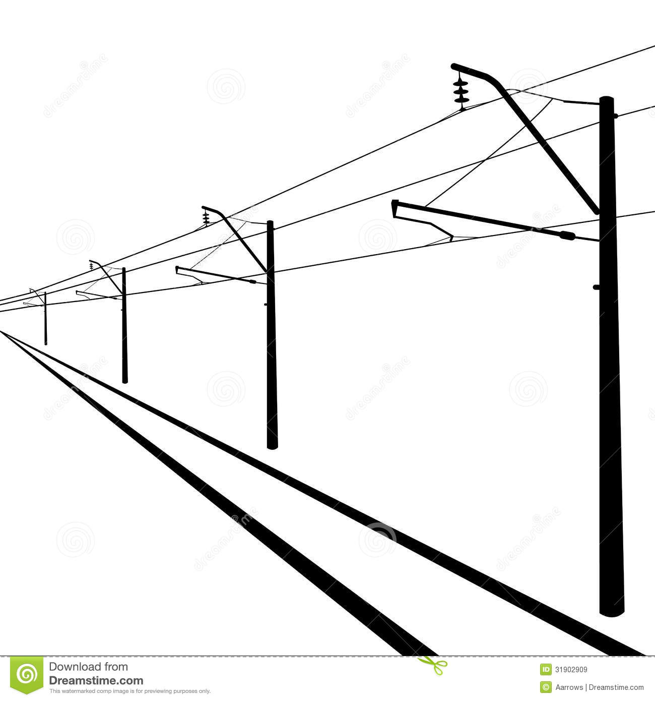 railroad overhead lines  stock vector  image of high
