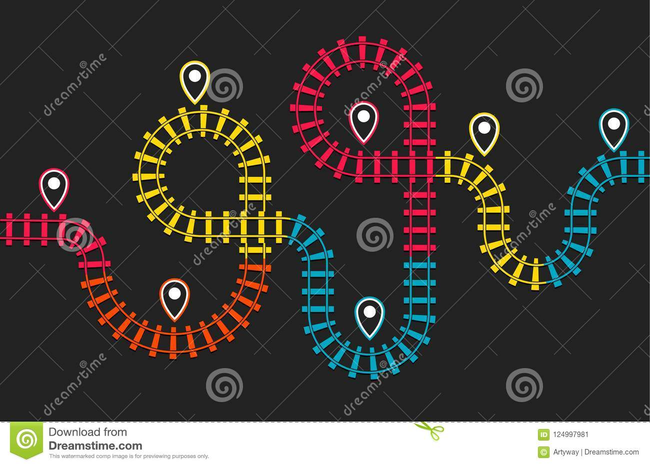 Subway Map Direction.Railroad Stations Map Railway Route Rail Track Direction Train