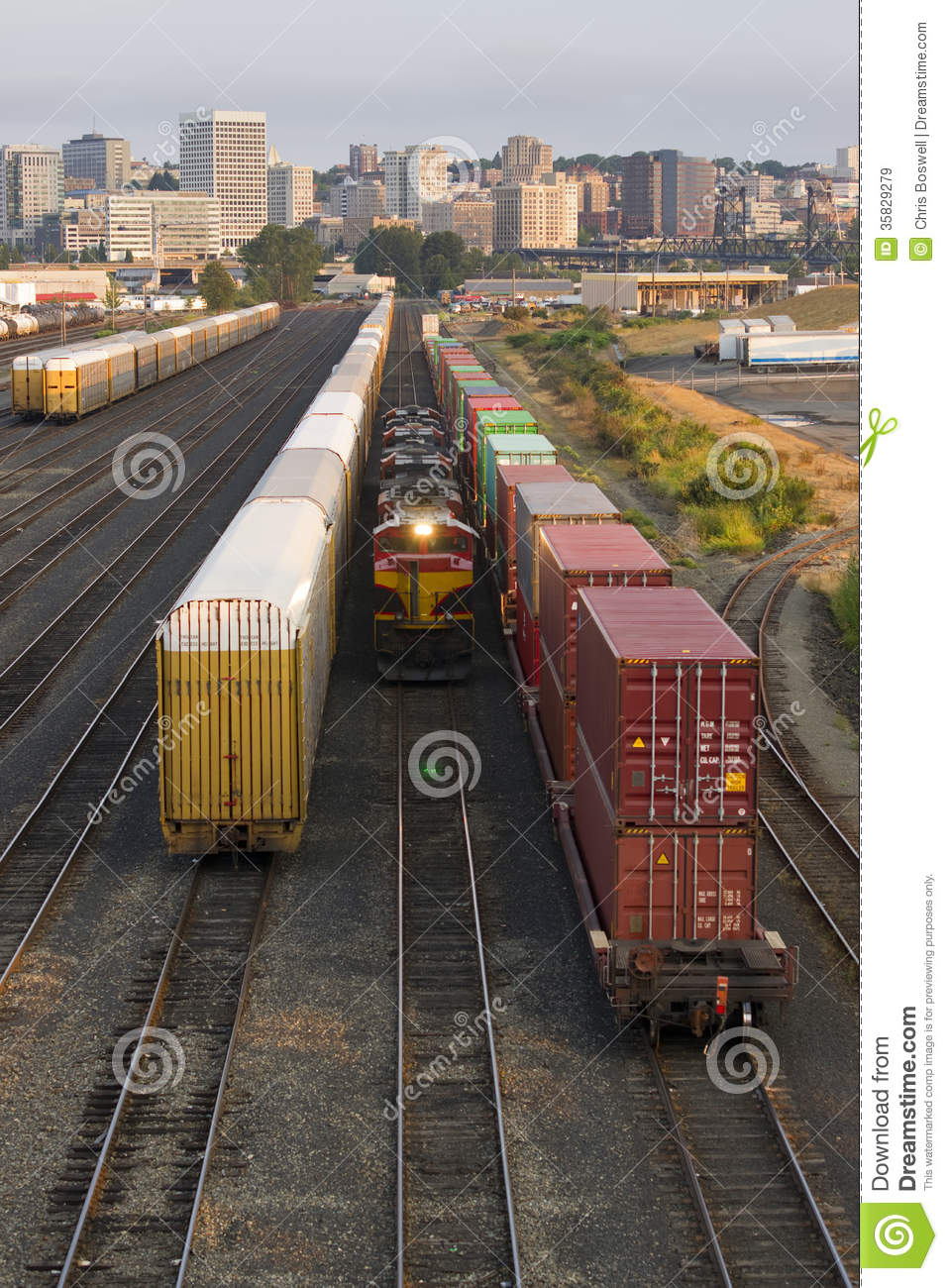 Railroad Switching Yards Rails Cars Boxcars Engine