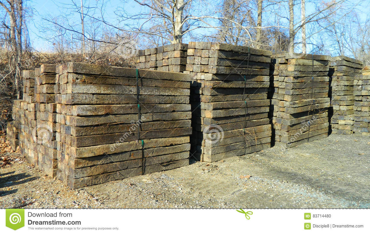 Railroad Ties Stacked stock photo  Image of built, brown - 83714480