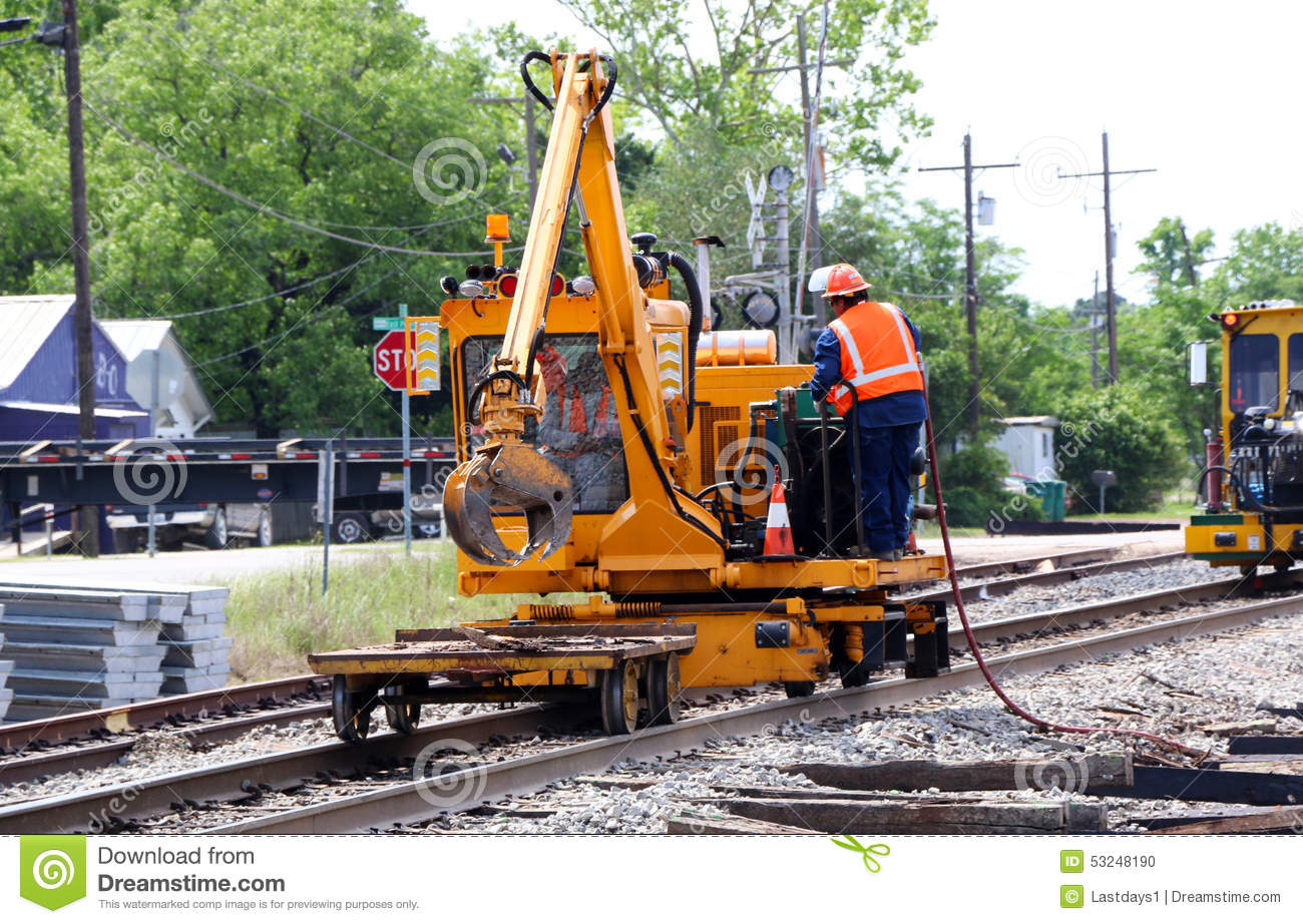 Railroad Track Repair stock photo  Image of safety, strobes - 53248190