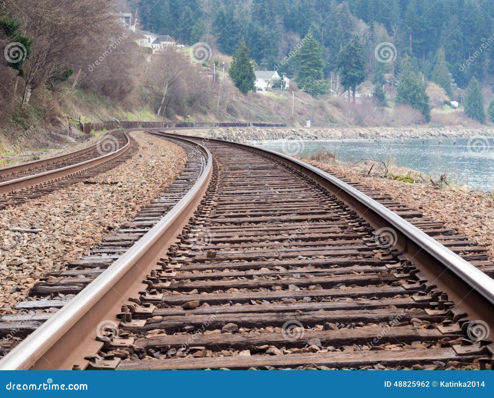 Railroad tracks along the ocean shore