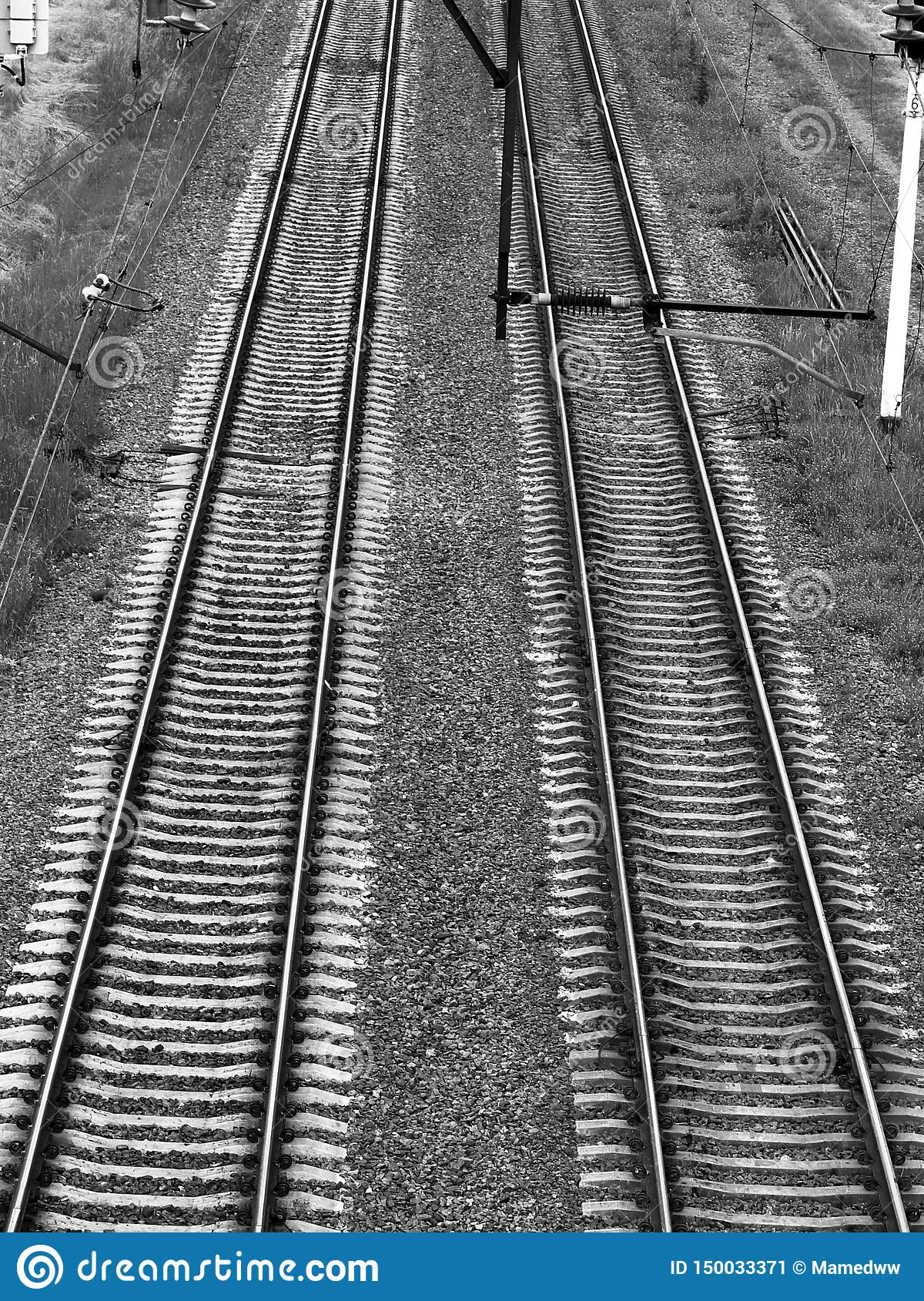 Railroad tracks black gloomy atmosphere