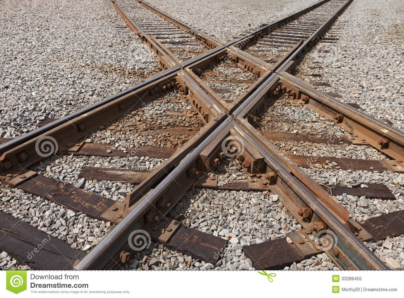 Railroad Tracks Crossing Royalty Free Stock Photo - Image: 33289455