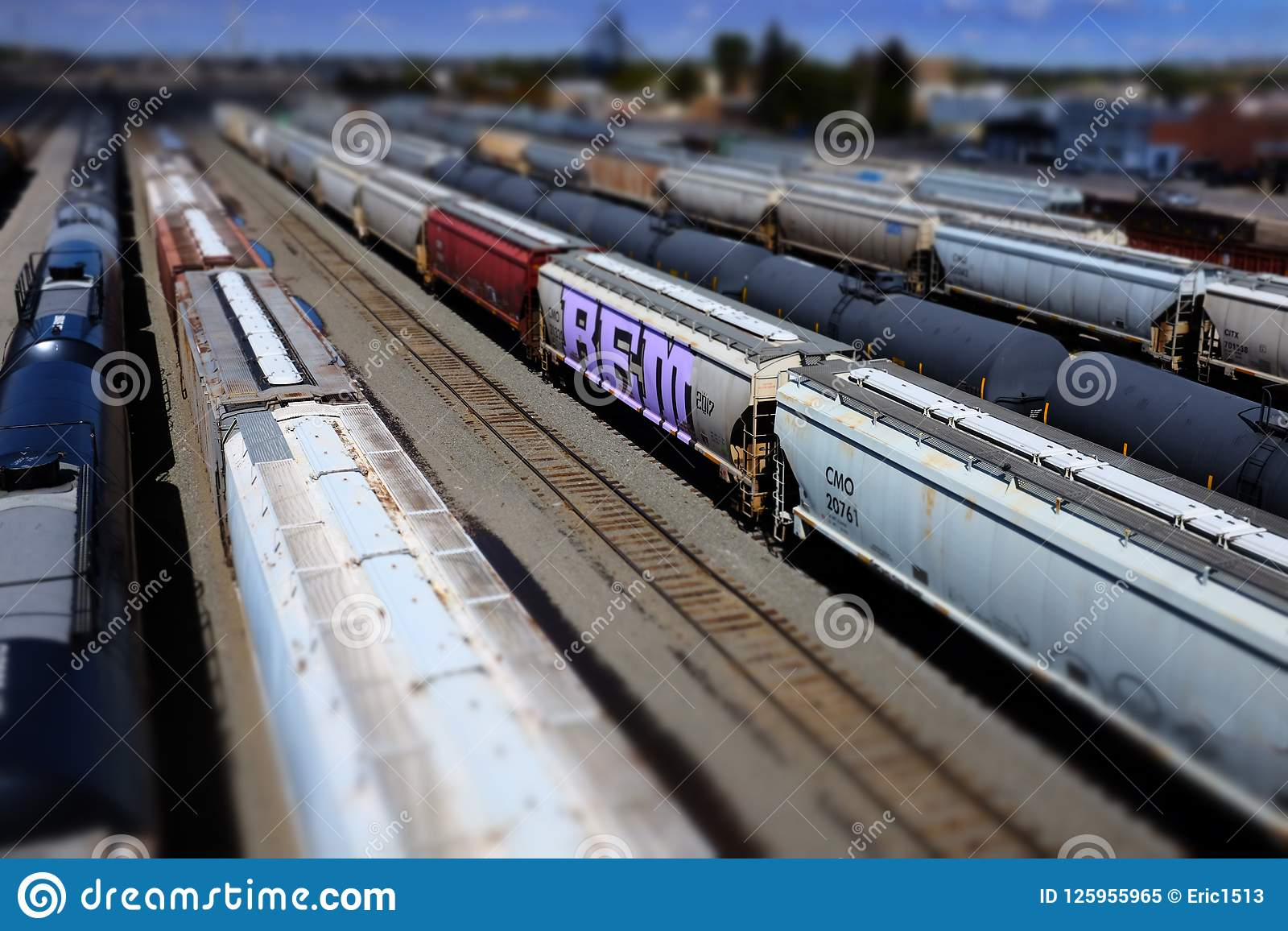 Railroad Tracks And Trains Cars In Miniature Mode Models