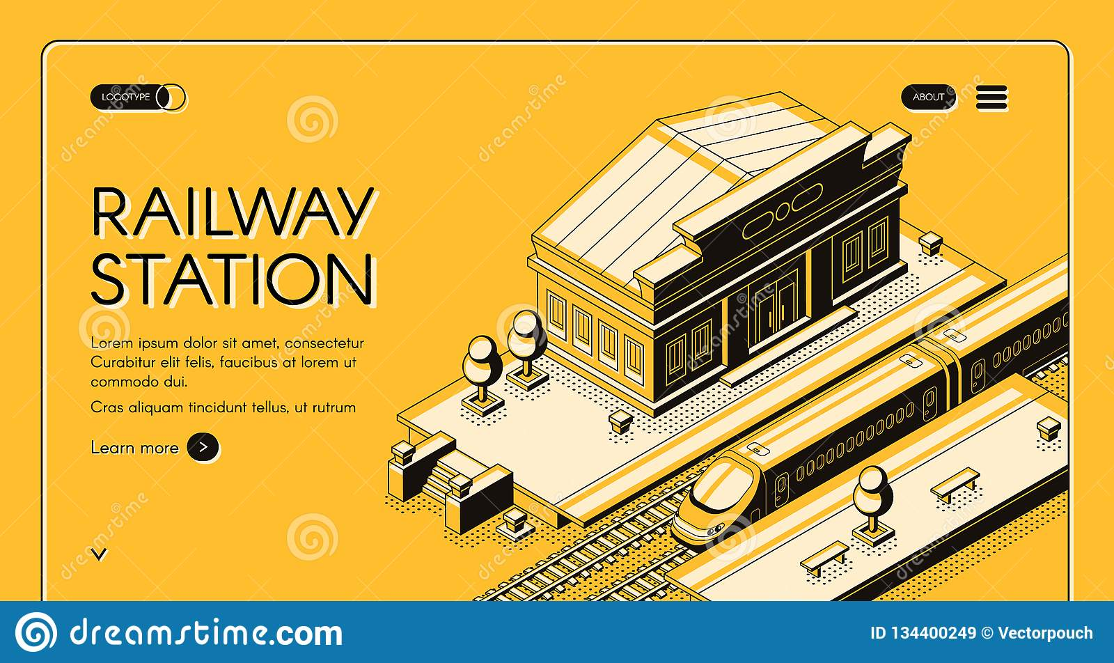 Railway Station Isometric Vector Landing Page Stock Vector