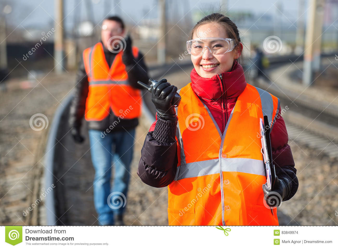 Railroad Workers Doing Their Job Stock Photo - Image of