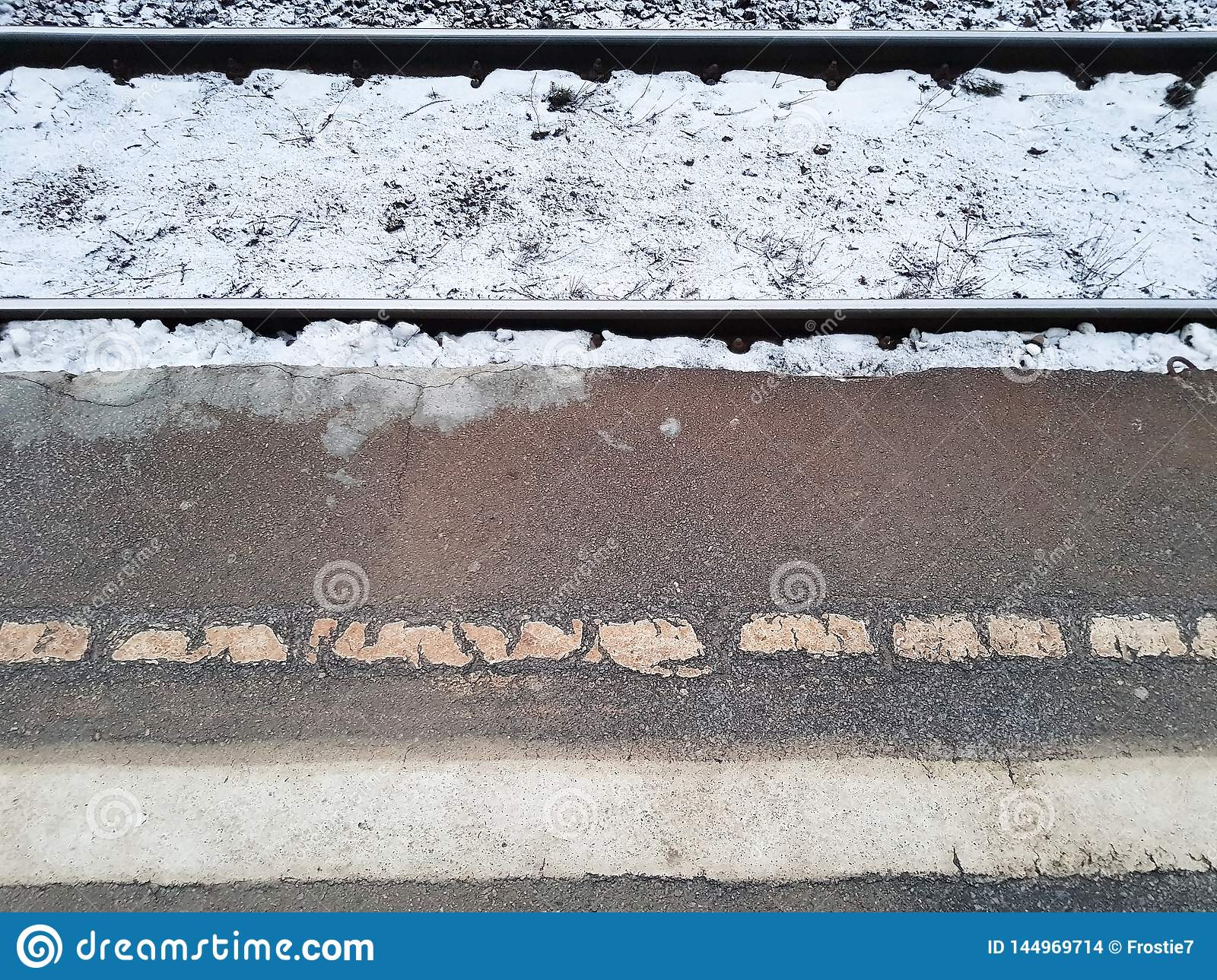 The rails and the platform. Winter