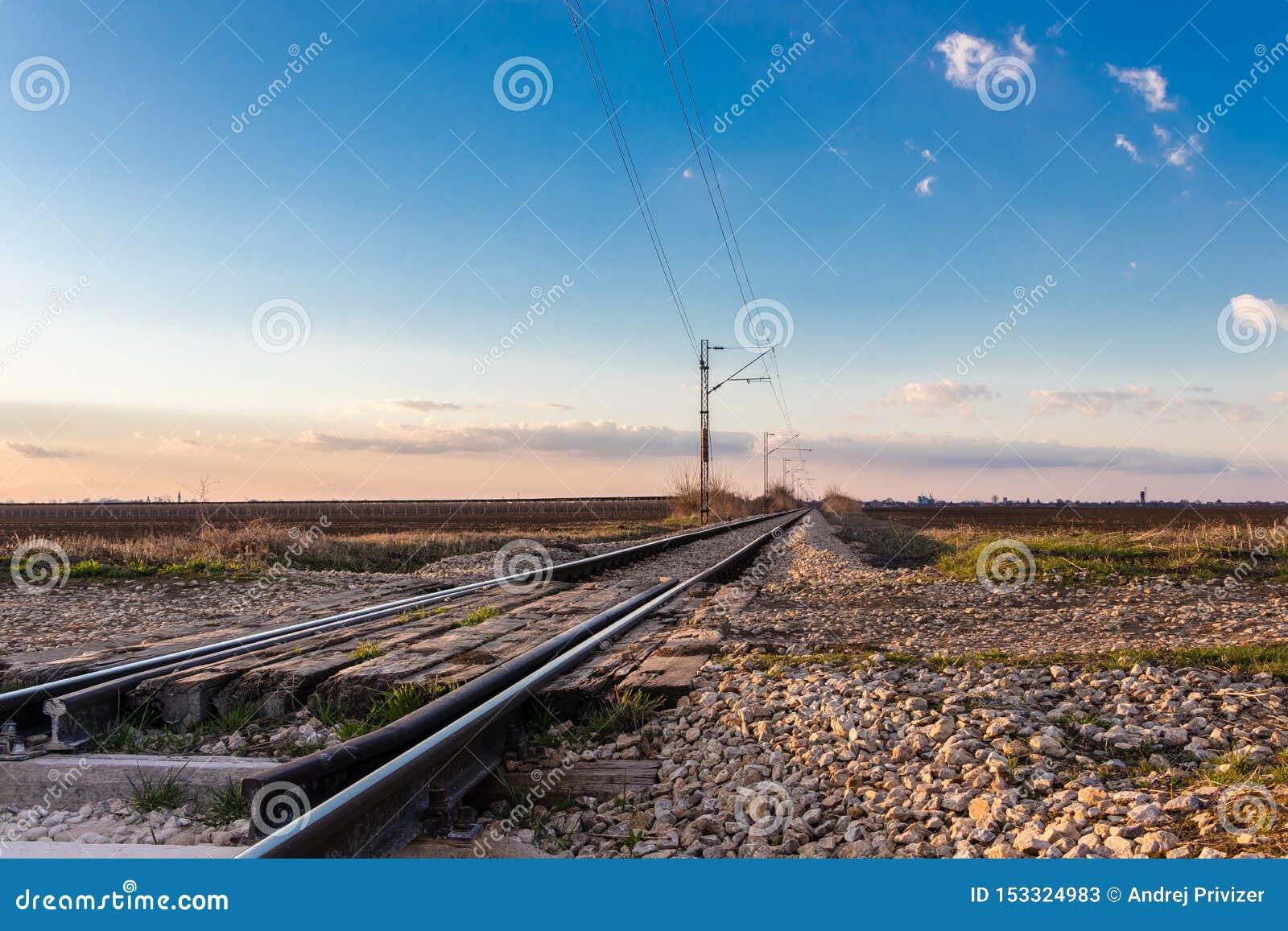 Railway crossing near Novi Sad in March, Serbia