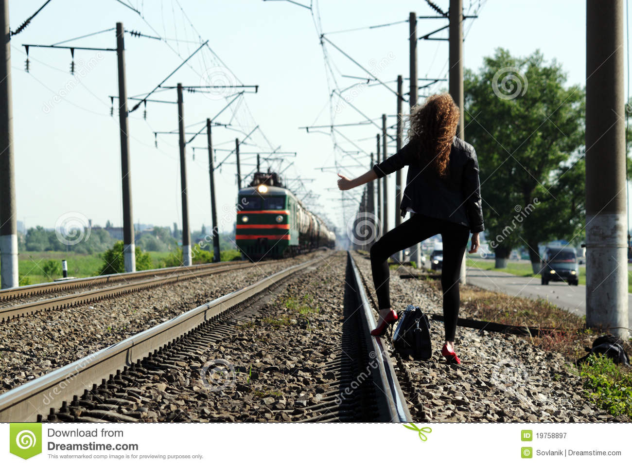 railway girl royalty free stock photography image 19758897