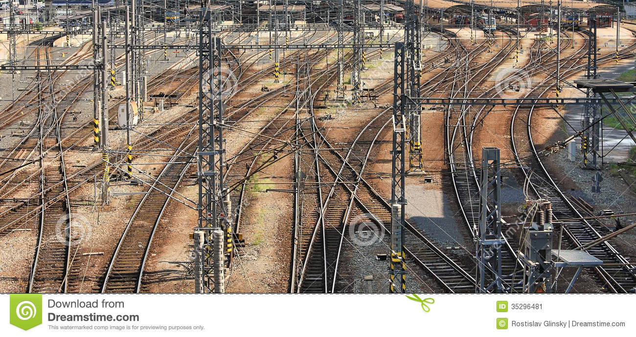 railway intersections prague  czech republic stock image train track clipart images train tracks clip art images