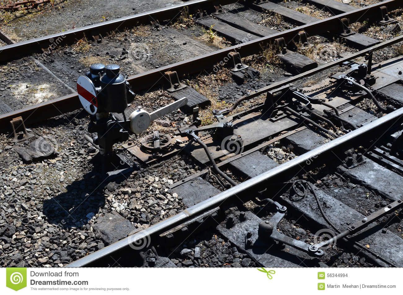 Lever Train Track : Railway junction points and signal lever stock photo