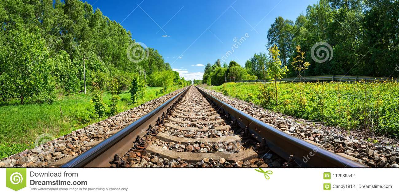 Railway outdoors on beautiful summer day