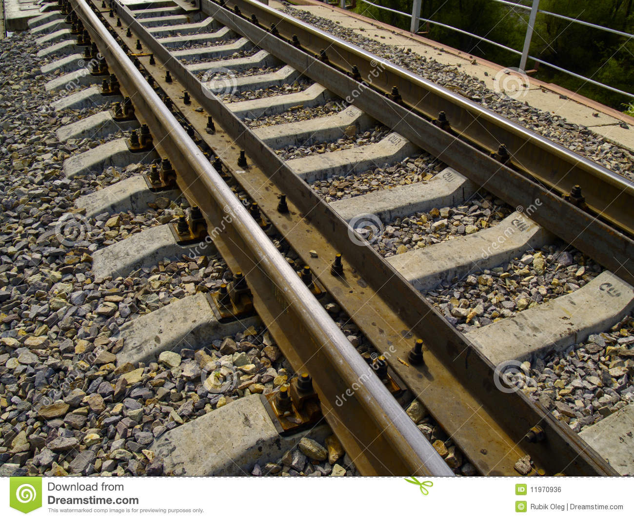 Railway rails close-up stock photo  Image of track, design