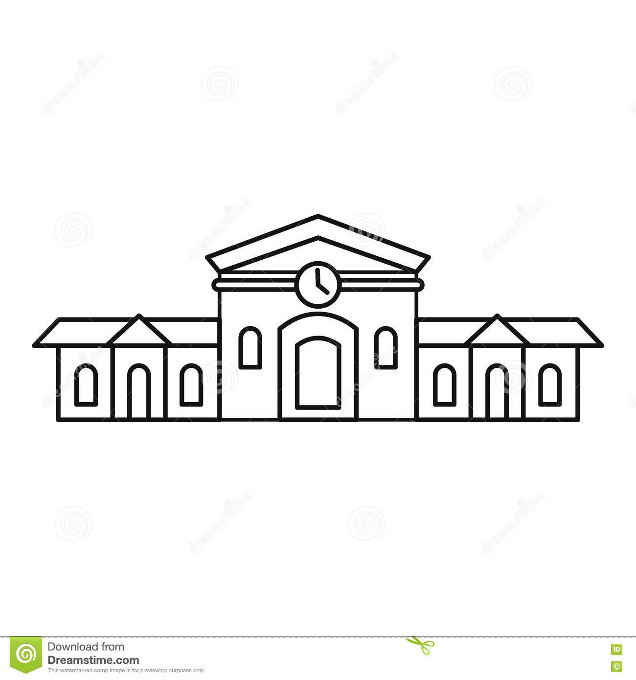 Railway Station Building Icon, Outline Style Stock Vector ...