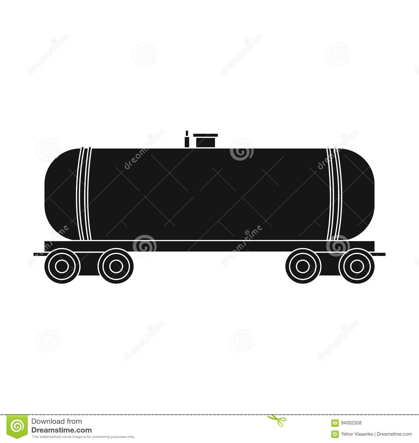Railway Tank Caroil Single Icon In Black Style Vector Symbol Stock