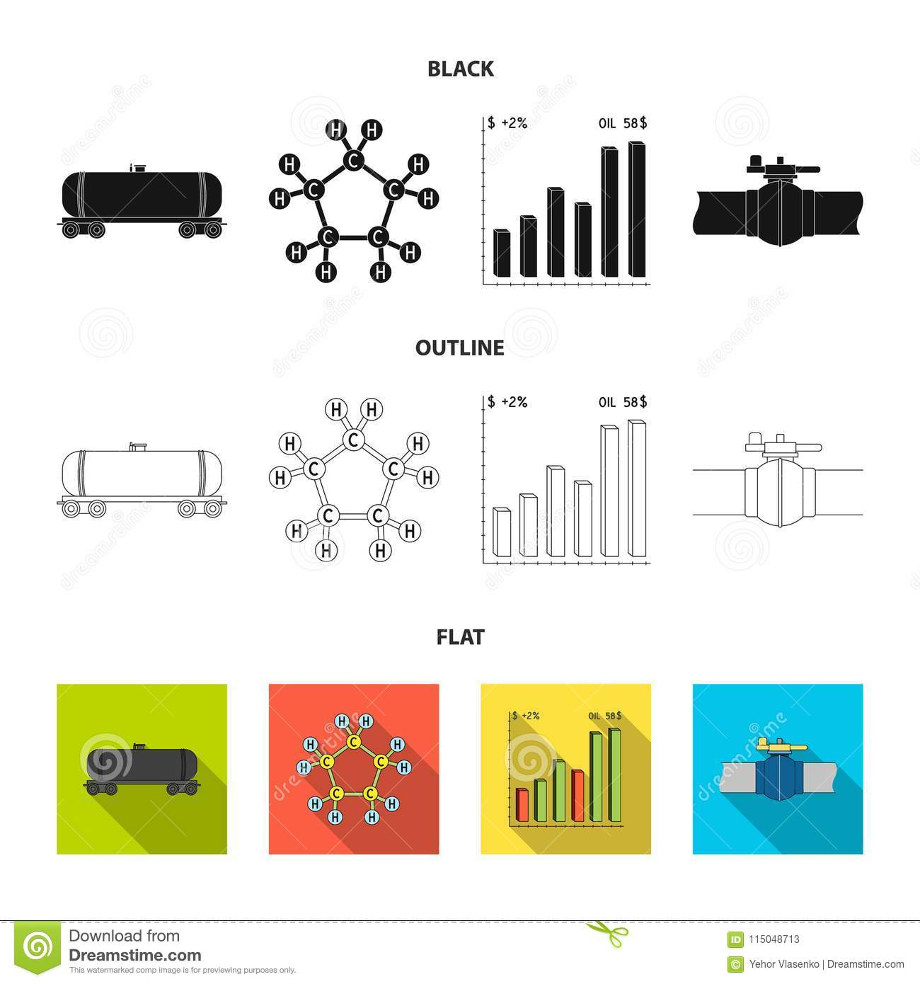 Railway tank, chemical formula, oil price chart, pipeline valve. Oil set collection icons in black,flat,outline style