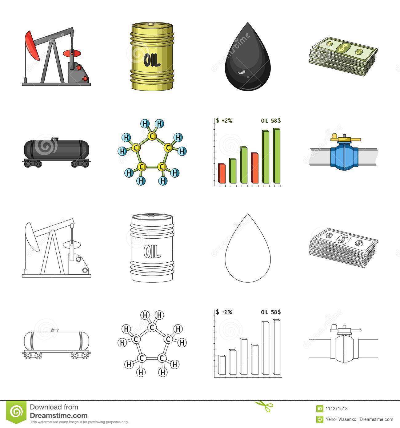 Railway tank, chemical formula, oil price chart, pipeline valve. Oil set collection icons in cartoon,outline style