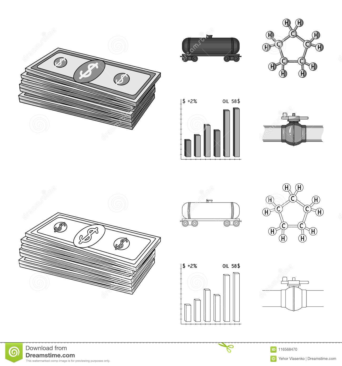 Railway tank, chemical formula, oil price chart, pipeline valve. Oil set collection icons in outline,monochrome style