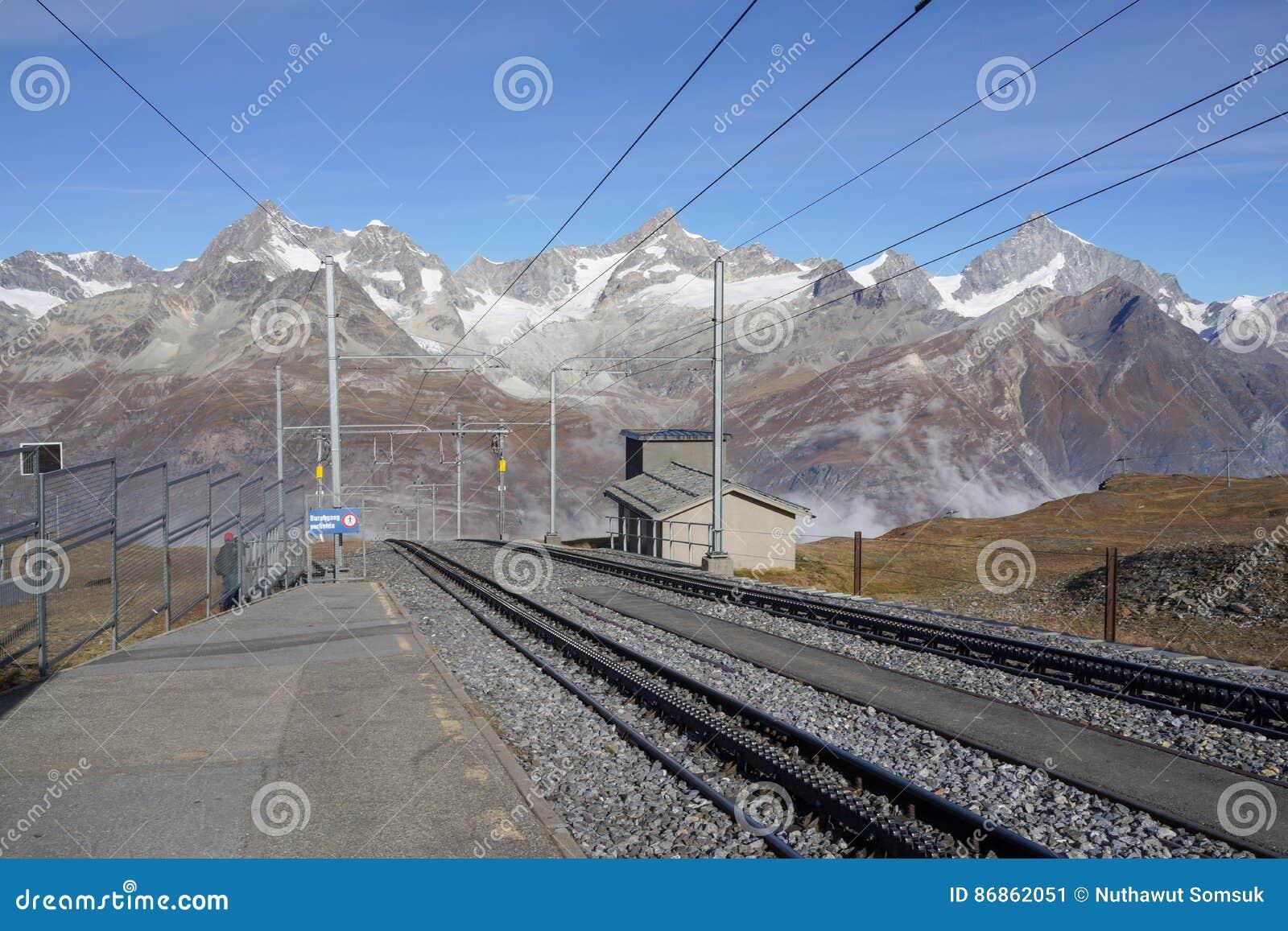 The railway to Gornergrat Bahn with mountain background, Zermatt Switzerland