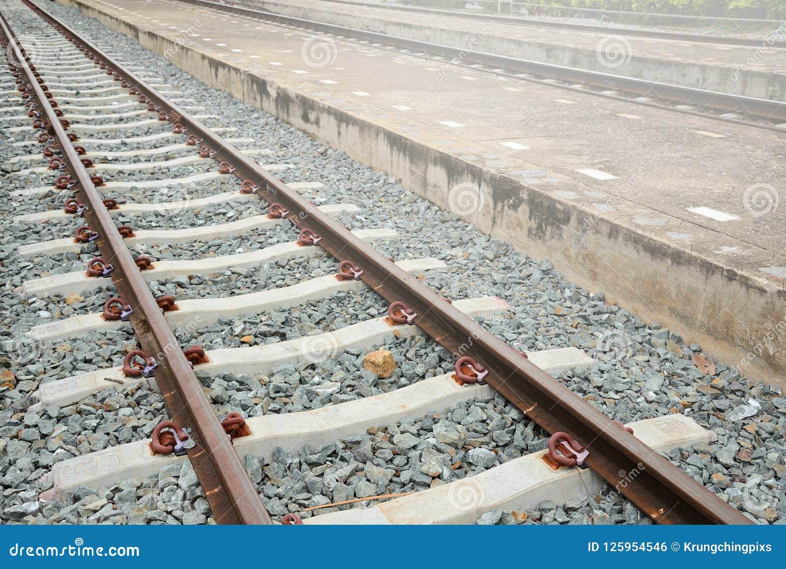 Railway Track With Concrete Platform  Stock Photo - Image of