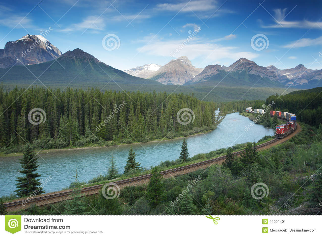 Railway With Train In Banff National Park, Canada Stock Image - Image ...